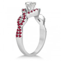 Ruby Infinity Halo Engagement Ring & Band Set 18K White Gold (0.60ct)