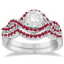 Ruby Infinity Halo Engagement Ring & Band Set Platinum (0.60ct)