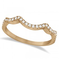 Contoured Semi Eternity Diamond Wedding Band 14K Rose Gold (0.21ct)