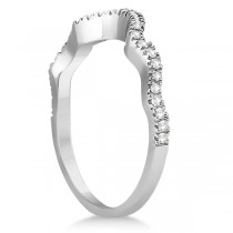 Contoured Semi Eternity Diamond Wedding Band 14K White Gold (0.21ct)