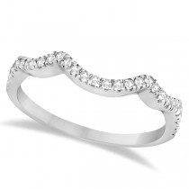 Contoured Semi Eternity Diamond Wedding Band 18K White Gold (0.21ct)