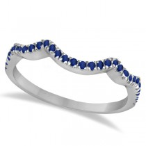 Contoured Semi Eternity Blue Sapphire Wedding Band 14K White Gold (0.21ct)