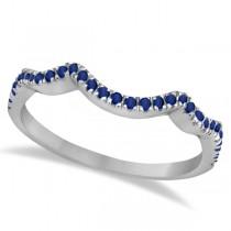 Contoured Semi Eternity Blue Sapphire Wedding Band 18K White Gold (0.21ct)