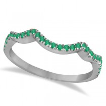 Contoured Semi Eternity Emerald Wedding Band Palladium (0.21ct)