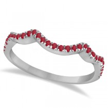 Contoured Semi Eternity Ruby Wedding Band 18K White Gold (0.21ct)