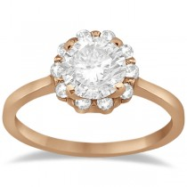 Floral Diamond Halo Engagement Ring Setting 18k Rose Gold (0.20ct)