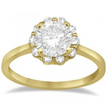 Floral Diamond Halo Engagement Ring Setting 18k Yellow Gold (0.20ct)