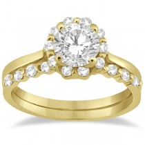 Floral Diamond Halo Engagement Bridal Set 14k Yellow Gold (0.40ct)