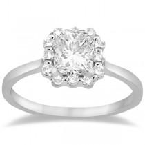 Princess Cut Diamond Frame Engagement Ring In 14K White Gold (0.25ct)