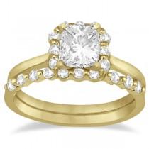 Princess Cut Diamond Halo Ring & Band Bridal Set 14K Yellow Gold (0.45ct)