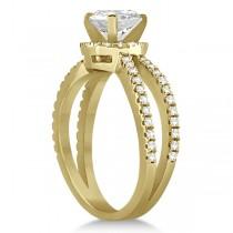 Diamond Halo Split Shank Engagement Ring 14k Yellow Gold (0.46ct)