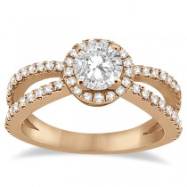 Diamond Halo Split Shank Engagement Ring 18k Rose Gold (0.46ct)