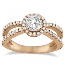 Diamond Halo Split Shank Engagement Bridal Set 14k Rose Gold (0.67ct)