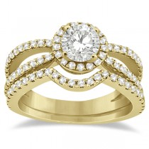 Diamond Halo Split Shank Engagement Bridal Set 14k Yellow Gold (0.67ct)