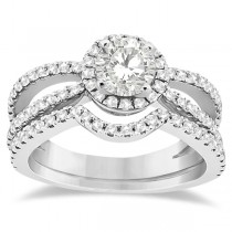Diamond Halo Split Shank Engagement Bridal Set 18k White Gold (0.67ct)