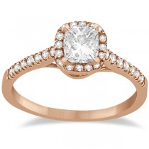 Diamond Halo Square Engagement Ring 14K Rose Gold (0.26ct)