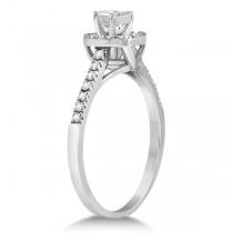 Diamond Halo Square Engagement Ring 14K White Gold (0.26ct)