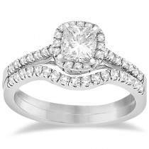 Square Halo Ring & Wedding Band Bridal Set 14K White Gold (0.43ct)