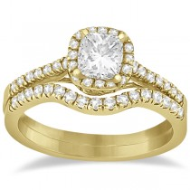 Square Halo Ring & Wedding Band Bridal Set 14K Yellow Gold (0.43ct)