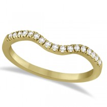 Pave Contoured Diamond Wedding Band 14K Yellow Gold (0.17ct)