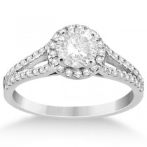Angels Halo Split Shank Diamond Engagement Ring 14k  White Gold 0.43ct