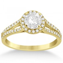 Angels Halo Split Shank Diamond Engagement Ring 14k Yellow Gold 0.43ct