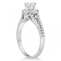 Angels Halo Split Shank Diamond Engagement Ring Palladium 0.43ct
