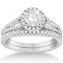 Angels Halo Diamond Engagement Ring & Wedding Band 14k White Gold