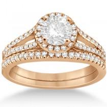 Angels Halo Diamond Engagement Ring & Wedding Band 18k Rose Gold