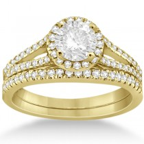 Angels Halo Diamond Engagement Ring & Wedding Band 18k Yellow Gold