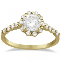 Halo Diamond Semi Eternity Engagement Ring 18K Yellow Gold (0.36ct)
