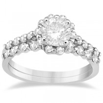 Halo Diamond Engagement Ring & Wedding Band 18K White Gold (0.56ct)