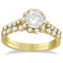 Halo Diamond Engagement Ring & Wedding Band 18K Yellow Gold (0.56ct)