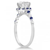 Diamond and Sapphire Halo Engagement Ring 14K White Gold (0.64ct)