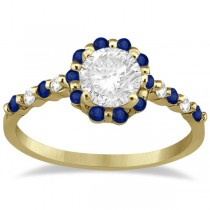 Diamond and Sapphire Halo Engagement Ring 14K Yellow Gold (0.64ct)
