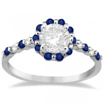 Diamond and Sapphire Halo Engagement Ring Platinum (0.64ct)