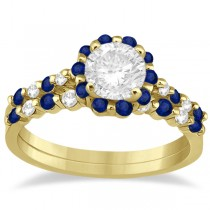 Diamond and Sapphire Engagement Ring Bridal Set 14K Yellow Gold (0.94ct)