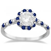 Diamond and Sapphire Engagement Ring Bridal Set Palladium (0.94ct)