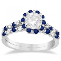 Diamond and Sapphire Engagement Ring Bridal Set Platinum (0.94ct)