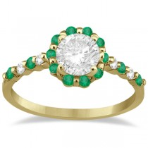 Diamond and Emerald Halo Engagement Ring 14K Yellow Gold (0.64ct)
