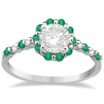 Diamond and Emerald Halo Engagement Ring 18K White Gold (0.64ct)