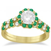 Diamond and Emerald Engagement Ring Bridal Set 14K Yellow Gold (0.94ct)