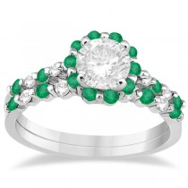 Diamond and Emerald Engagement Ring Bridal Set 18K White Gold (0.94ct)