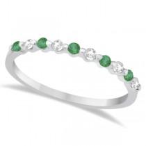 Diamond and Emerald Engagement Ring Bridal Set 18K White Gold (0.94ct)