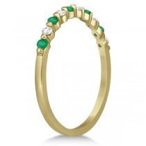 Diamond and Emerald Engagement Ring Bridal Set 18K Yellow Gold (0.94ct)