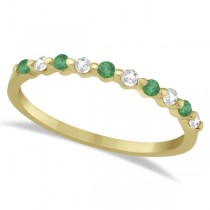 Diamond and Emerald Semi-Eternity Wedding Band 14K Yellow Gold (0.30ct)