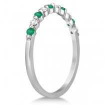 Diamond and Emerald Semi-Eternity Wedding Band Palladium (0.30ct)