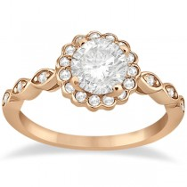 Floral Halo Diamond Marquise Engagement Ring 14k Rose Gold (0.24ct)