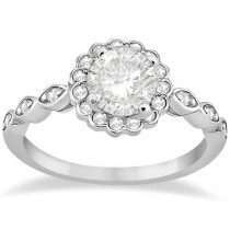 Floral Halo Diamond Marquise Engagement Ring Setting Palladium (0.24ct)