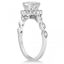 Floral Halo Diamond Marquise Engagement Ring Setting Platinum (0.24ct)